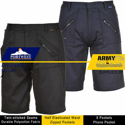 Portwest Action Shorts Elasticated Waist Work Safety Zip Pockets Cargo Mens Pant