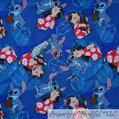 BonEful FABRIC FQ Cotton Quilt Blue Lilo & Stitch Girl Disney Hawaii Island SALE