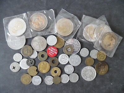 Lot of 40 Vintage Antique Medals Tokens Trade Tokens & Exonumia