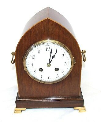 French Antique Walnut & Satinwood Lancet Bracket Mantel Clock : AD MOUGIN PARIS
