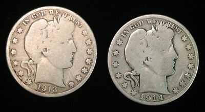 1913-S and 1914-S Barber Half Dollars