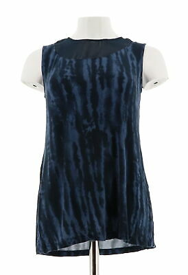 Lisa Rinna Collection Animal Printed Knit Top Sheer Neckline Navy M NEW A277015