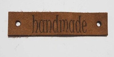 Handmade - Laser Cut Tags 2 Pc - Brown Lambskin Leather