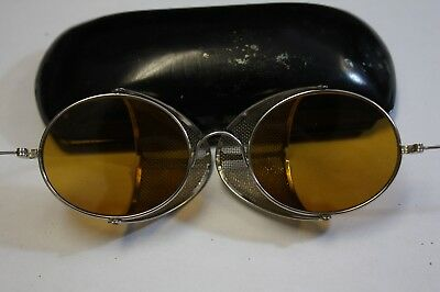 Vintage  Goggles Glasses Metal Safety Folding amber Lens