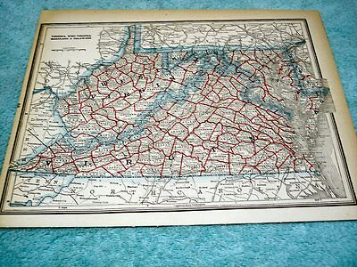 ANTIQUE MAP OF VIRGINIA and WEST VIRGINIA-  SHOWING RAILROADS - PRINTED IN 1893