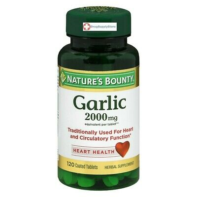 Nature's Bounty Garlic 2000 mg Equivalent Tablets Odor-Free 120 Tablets