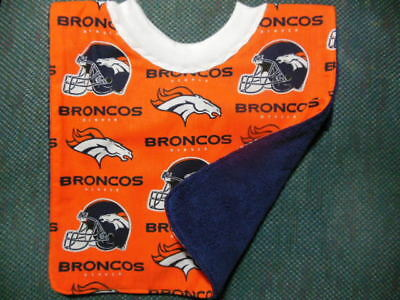NFL Denver BRONCOS Baby Bib - Hand-crafted, NEW, REVERSIBLE