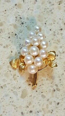 14K Gold Pin-Cluster Of Pearl Grapes-Pristine Condition