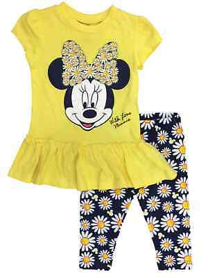 Disney Toddler Girls Minnie Mouse Outfit Yellow & Blue Daisy Pants & Shirt 2T