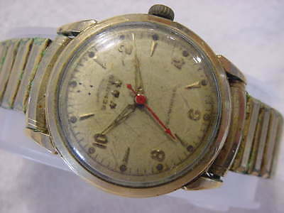 Vintage GOLD FD large antique Art Deco BENRUS AUTOMATIC mens watch