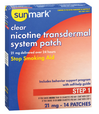 McK sunmark Clear Nicotine Transdermal System Patches 21 mg Step 1 Stop Smoking