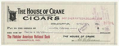 1916 Check House of Crane Cigars Importers & Jobbers Indianapolis, Indiana