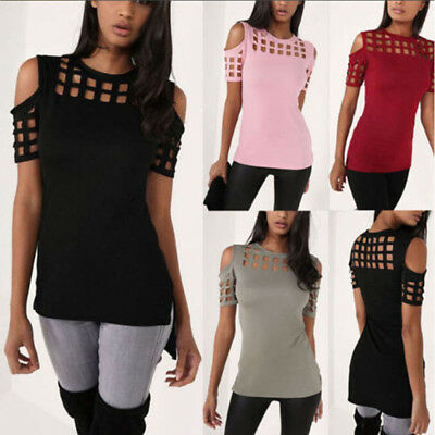 Womens Short Sleeve Hollow Cold Shoulder Tops Ladies Loose Blouse T-shirt