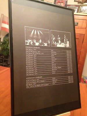 "BIG 11X17 FRAMED ABBA ""THE 1977 WORLD TOUR"" LP ALBUM CD PROMO AD w/ DATES!"
