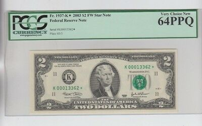 Federal Reserve Note $2 2003 STAR PCGS Graded very choice new 64PPQ