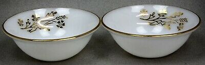 Set of 2 FEDERAL GLASS SOUP/FRUIT/DESSERT BERRY BOWLS MEADOW GOLD MILK GLASS