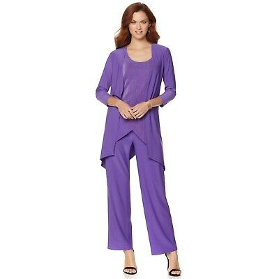 Antthony Pleasing Pleat 3Pc Overlay Top Pant Set Candy Purple 3X NEW 560-613