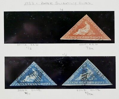CAPE OF GOOD HOPE 1853 Triangles #1-2 Colors 1d 4d Stamps