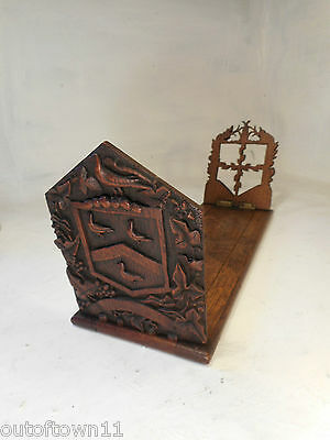 Rare Antique Heraldic Book Slide Book Ends     ,  ref 2655