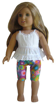 "For 18"" American Girl Doll Clothes White Eyelet Top Blouse & Vivid Flowers Capri"