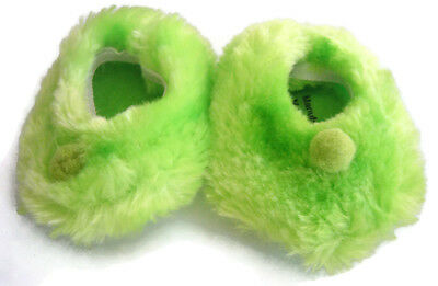 """For BITTY BABY 18"""" Doll Clothes Lime Green Fuzzy Pom Pom Slippers Accessories"""