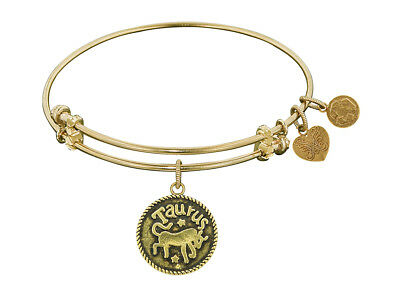 Angelica Antique Yellow Smooth Finish Brass taurus-april Expandable Bangle