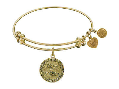 Angelica Antique Yellow Stipple Finish Brass maid Of Honor Expandable Bangle