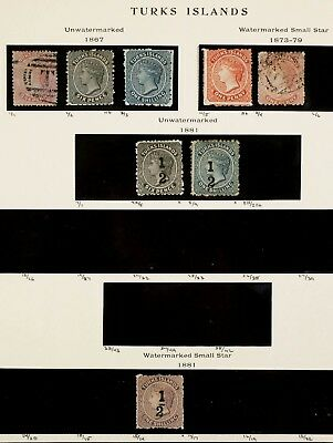 TURKS ISLANDS 1867-81, 8 Early Examples #1-5 7A 8 15 Stamps