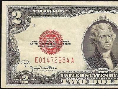 1928 G $2 Two Dollar Red Seal United States Legal Tender Note Old Paper Money