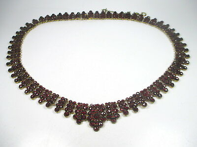 Jugendstil Collier Gold Double Halskette Granat Kette 1900 garnet necklace alt c