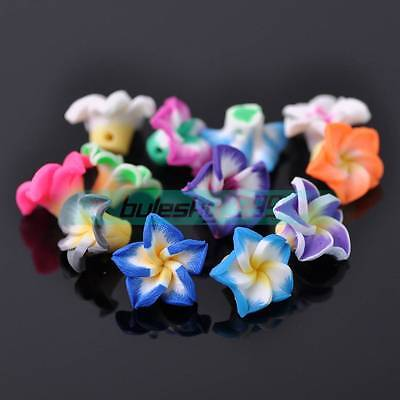 30pcs 15mm Flower Polymer Clay Loose Spacer Beads Random Mixed Color