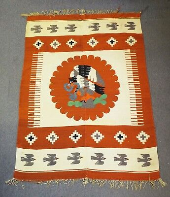 """Antique LARGE 57"""" x 84"""" SOUTH AMERICAN MEXICAN WOVEN TAPESTRY RUG Birds Eagle"""