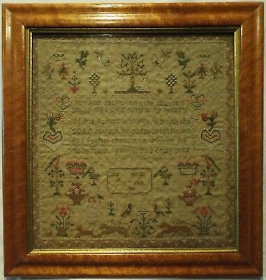 Early 19Th Century Adam & Eve, Motif & Quotation Sampler By Ann Miles - 1837