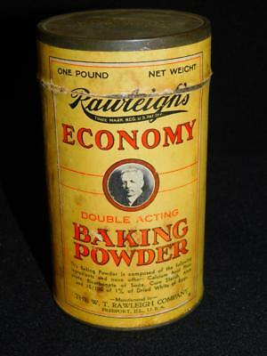 """Vintage Original RAWLEIGH'S Economy BAKING POWDER TIN Canister Can 5.5"""" Tall"""