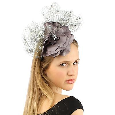 Fancy Standing Fishnet Floral Ribbon Headband Fascinator Millinery Church Gray