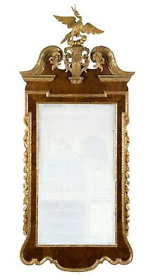 SWC-Chippendale Mahogany and Gilded Wood Architectural Constitution Mirror