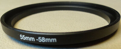 New 55mm to 58mm Step Up Lens Filter Ring Metal DSLR SLR Digital Camera Adapter
