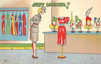 WOMAN SOLDIER JUST LOOKING DRESS CODE COMIC MILITARY POSTCARD (c. 1940s)