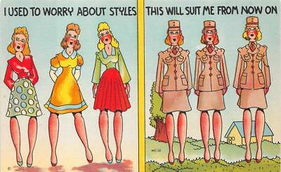 WOMAN SOLDIER DRESS CODE STYLES COMIC MILITARY POSTCARD (c. 1940s)