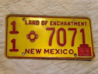 1970 New Mexico License Plate 11 7071