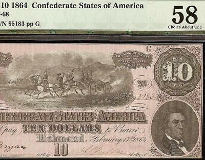 1864 $10 Dollar Confederate States Currency Civil War Note Money Gift Idea Pmg