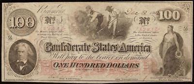 1862 $100 Dollar Bill Confederate States Currency Civil War Note Money Macon T41