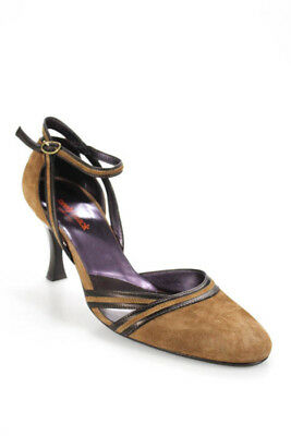 8c626b727e Neely Mack Brown Suede Round Toe Ankle Strap Pumps Size 39 9 In Box LL19LL