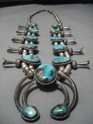 Rare Vintage Navajo Persin Turquoise Sterling Silver Squash Blossom Necklace Old