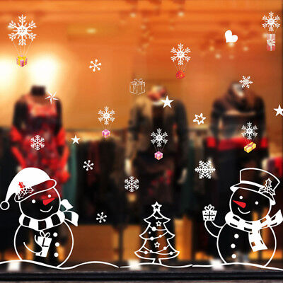 Merry Christmas Removable Snowman Xmas Tree Glass Shop Window Wall Sticker Decor