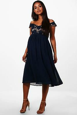 7010b052ee8a2 Boohoo Womens Maternity Ivy Lace Off The Shoulder Chiffon Midi Dress in Navy