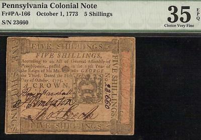 Oct 1, 1773 Pennsylvania Colonial Currency Note Paper Money Pa-166 Pmg 35 Epq