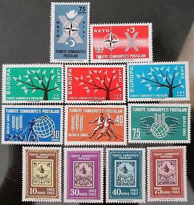 Turkey 1962 Sc #1545 #1546 #1553 to # 1555 #1560 to #1566 Europa NATO MNH Stamps