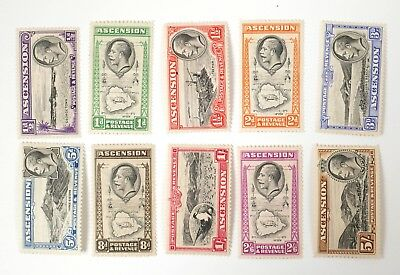 Ascension 1934 #23-32 1/2d 1d 2d 3d 5d 8d MH Stamps
