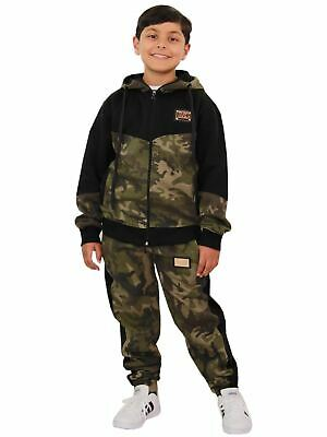 Kids Boys Girls Designer's A2Z Camouflage Contrast Tracksuit Hooded Jogging Suit